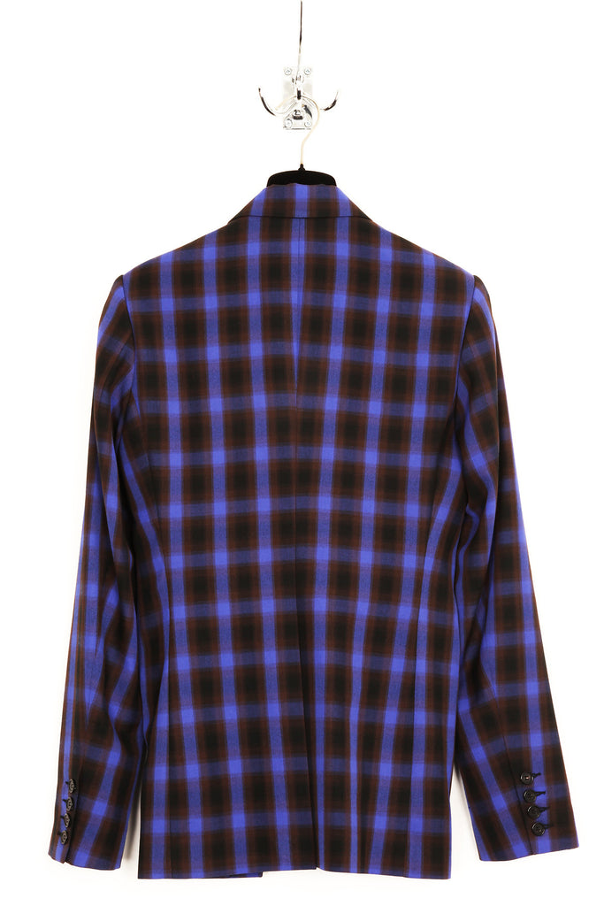 UNCONDITIONAL Blue check cutaway jacket with silk satin lining.