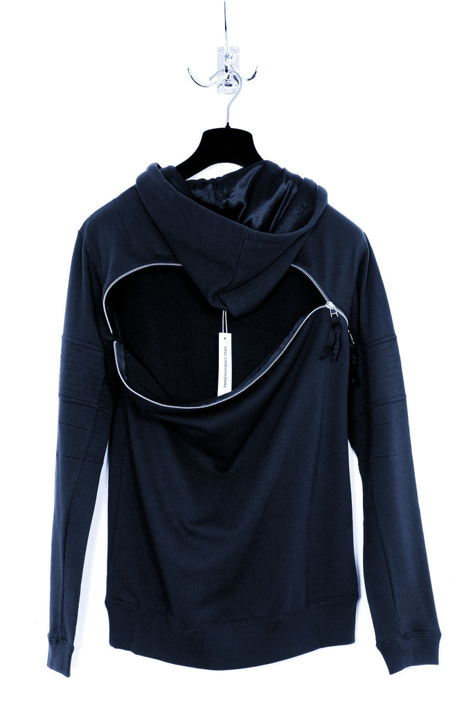 UNCONDITIONAL Navy Blue over neck hoodie with back zip detail and arm ribbing .