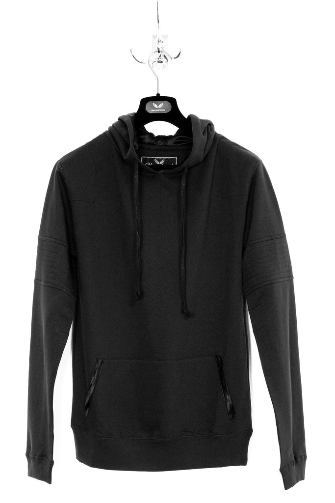 UNCONDITIONAL SS19 Black hoodie with back zip detail and arm quilting