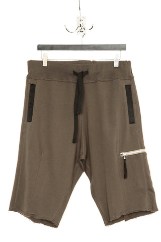 UNCONDITIONAL Military cold dyed shorts with taupe silk print shirt wrap