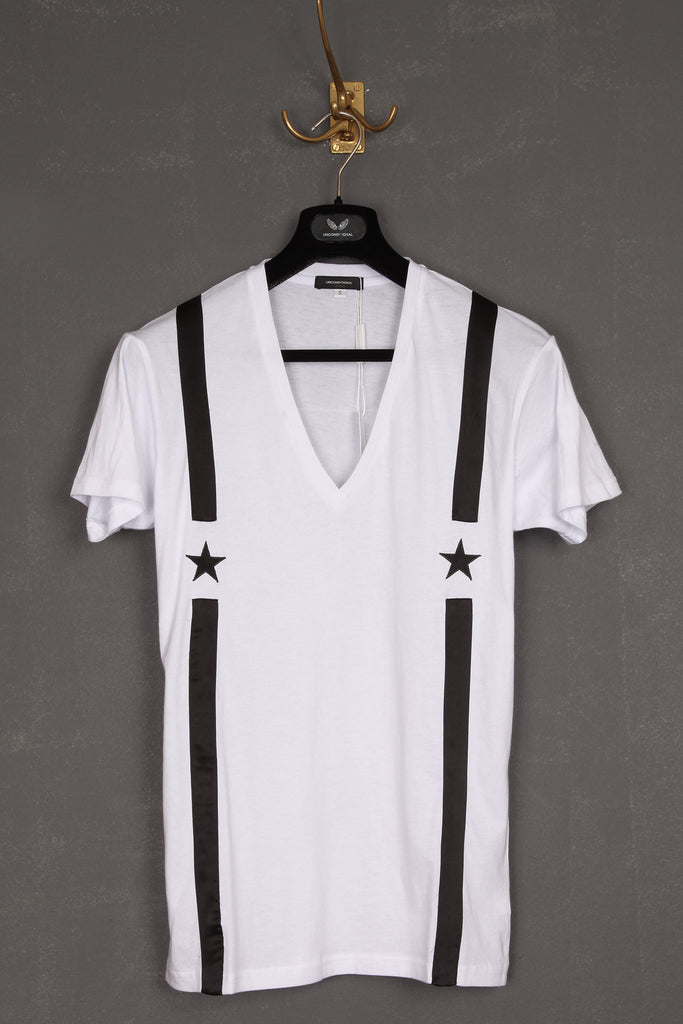 UNCONDITIONAL white v-neck t-shirt with black appliqued star braces.