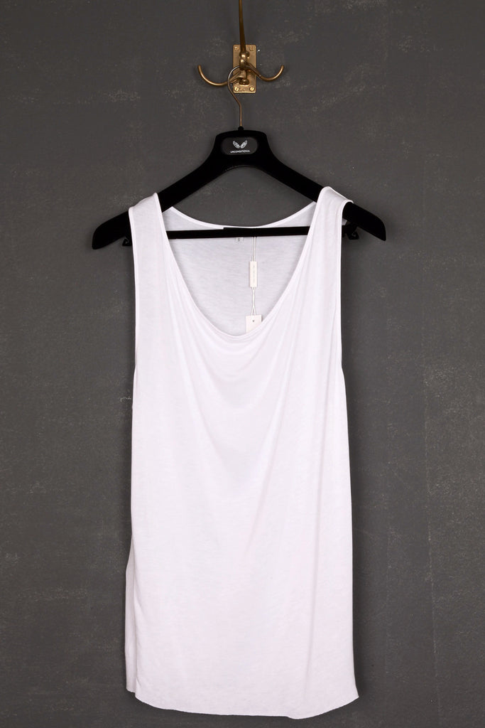 UNCONDITIONAL White heavy rayon drape front vest.