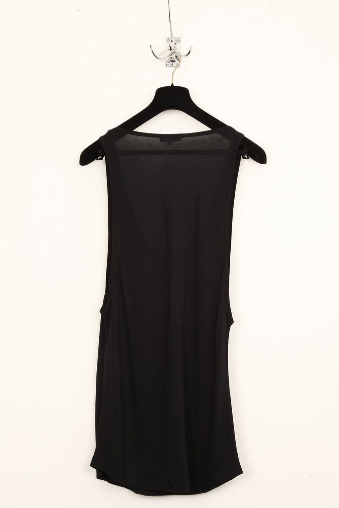 UNCONDITIONAL high summer, long black vest : low neck, deep armhole