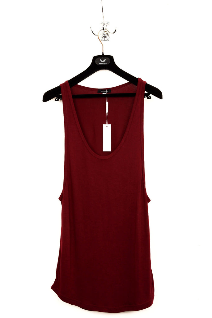 UNCONDITIONAL AW19 Burgundy deep armhole, low neck rayon vest.