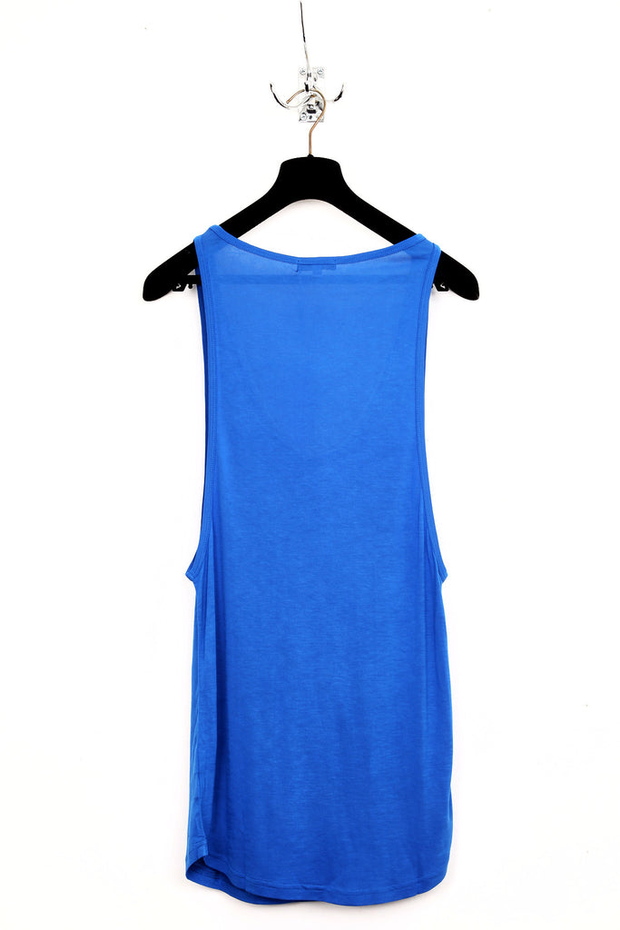 UNCONDITIONAL SS18 Electric blue long low neck vest in pure rayon.