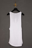 UNCONDITIONAL white rayon long low neck vest.
