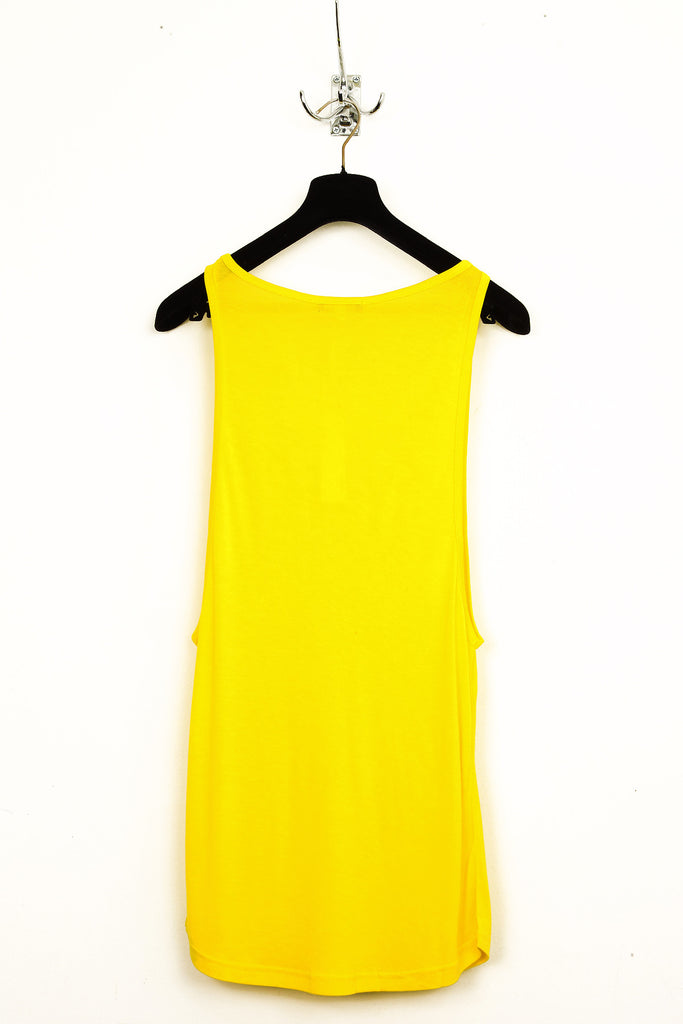 UNCONDITIONAL Acid yellow signature rayon vest with deep armhole and low neckline. code : R73