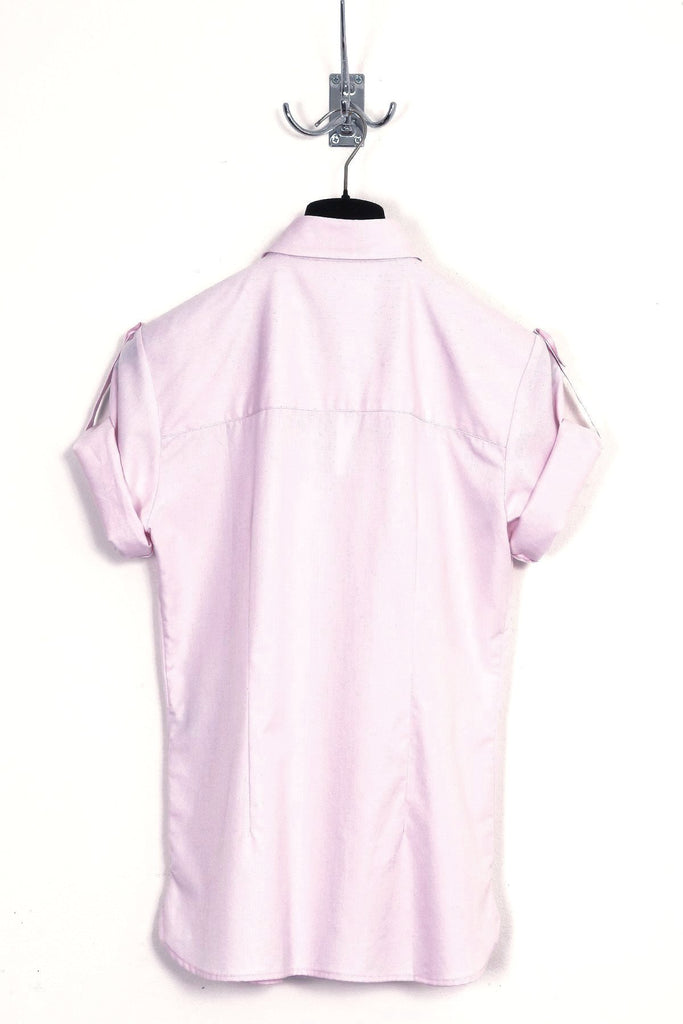 UNCONDITIONAL Pink short sleeved, pleat front baby collar shirt.