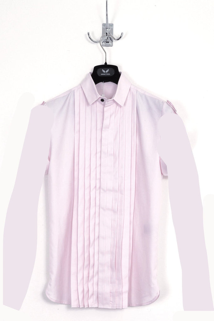 UNCONDITIONAL pastel pink short sleeved, pleat front baby collar shirt.