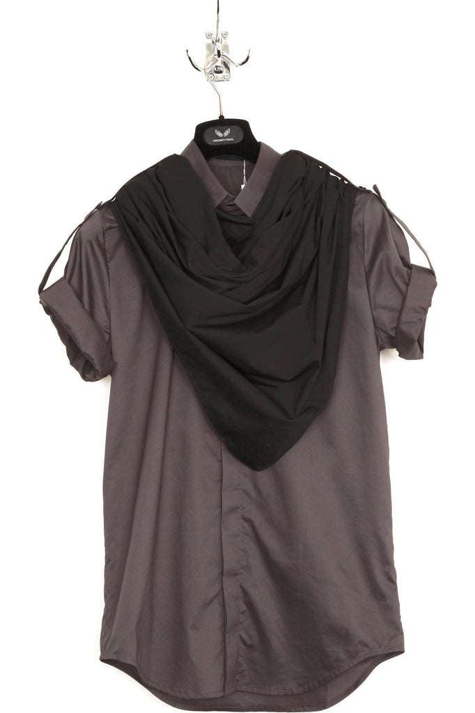 UNCONDITIONAL grey and black new short sleeve detachable neckerchief shirt.