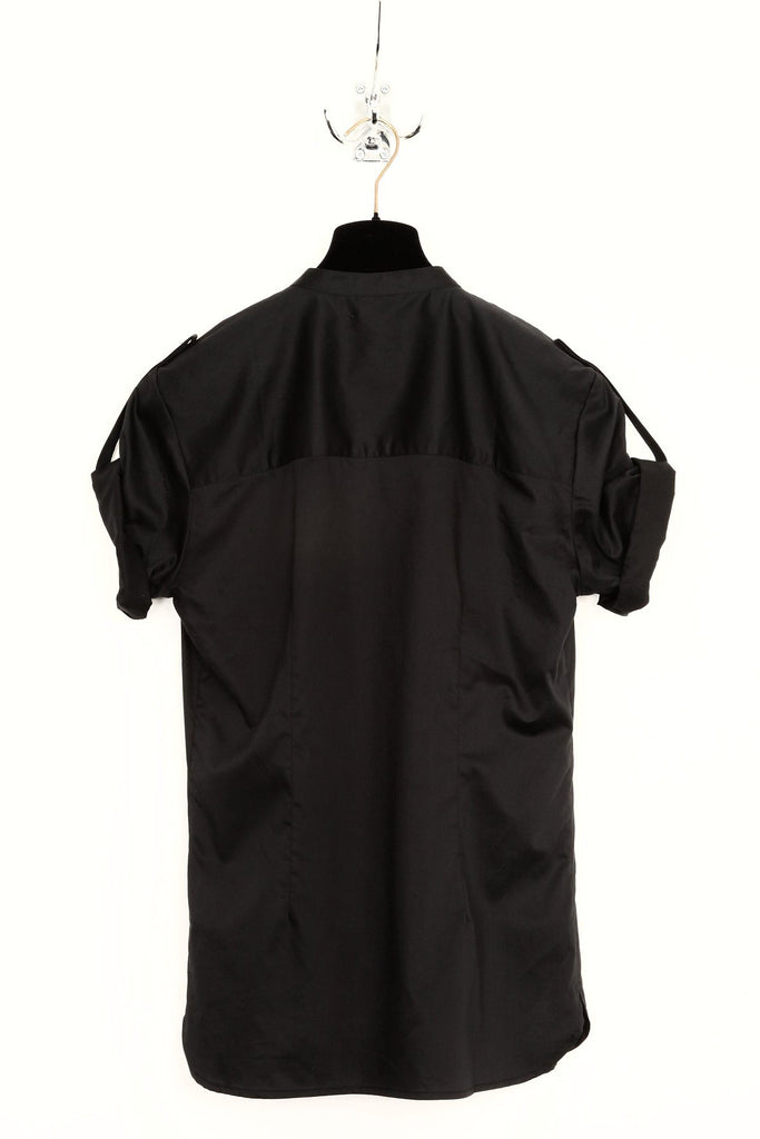 UNCONDITIONAL Black V-Neck, short sleeved pin tuck bib shirt, with arm pulls