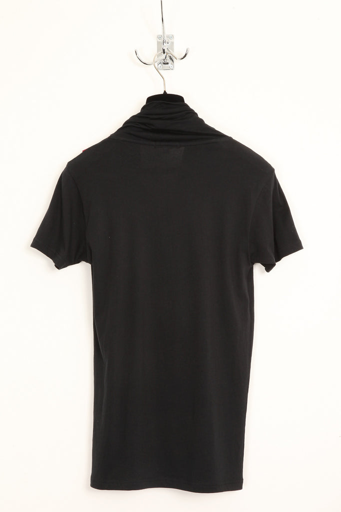 UNCONDITIONAL black and blood double drape neckerchief scarf T-shirt.