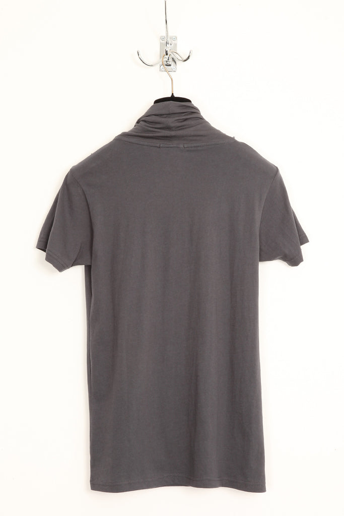 UNCONDITIONAL dark grey and black double drape neckerchief scarf T-shirt.