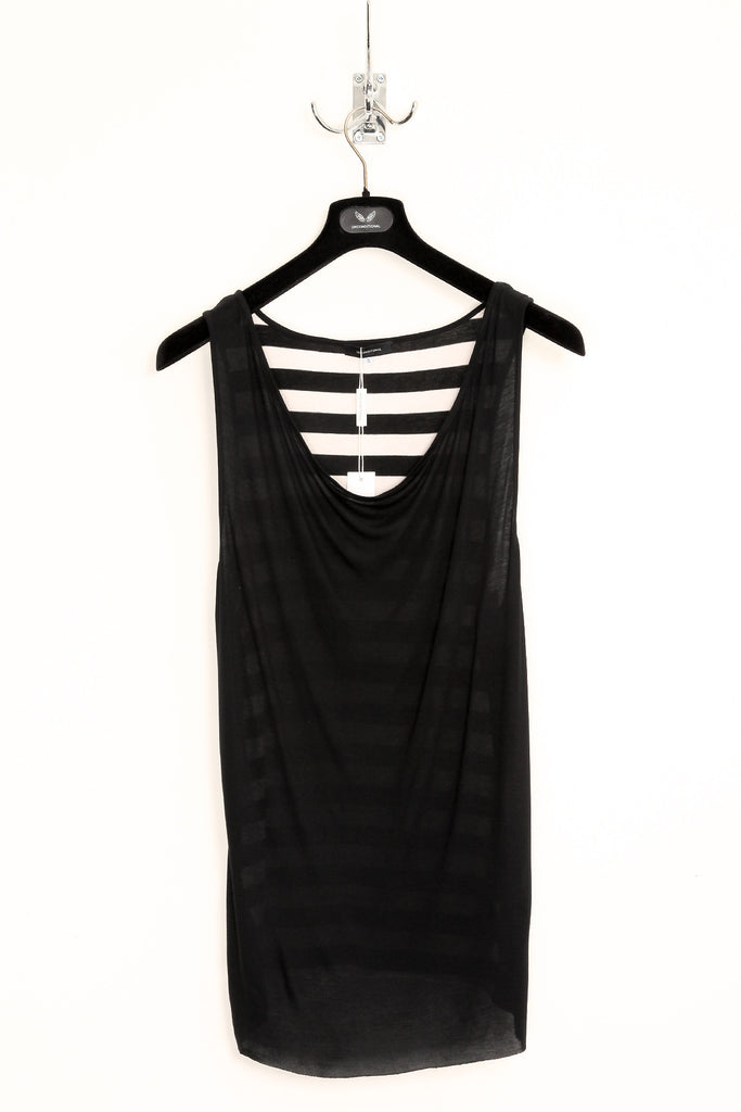 UNCONDITIONAL black rayon drape front vest with striped cotton back.