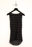 UNCONDITIONAL dark grey rayon drape front vest with striped cotton back.