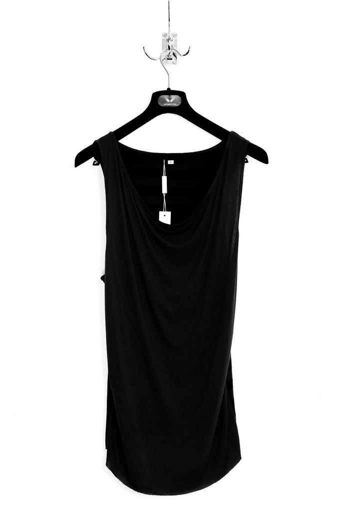 UNCONDITIONAL SS17 Black heavy rayon slouchy draped front vest.