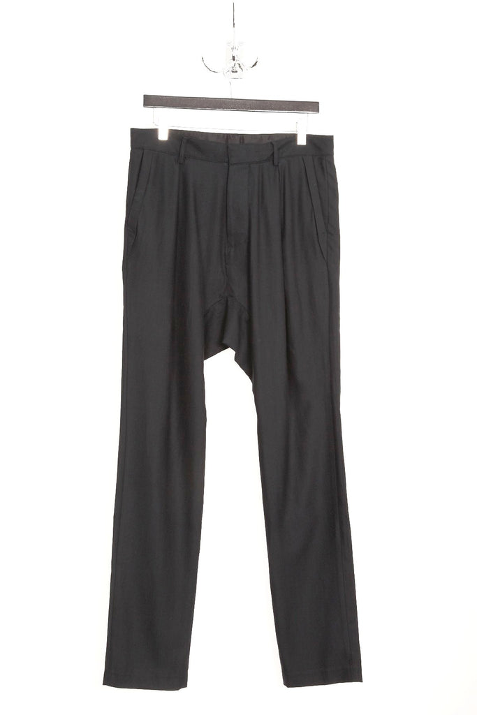 UNCONDITIONAL super dark grey pleated drop crotch trousers.