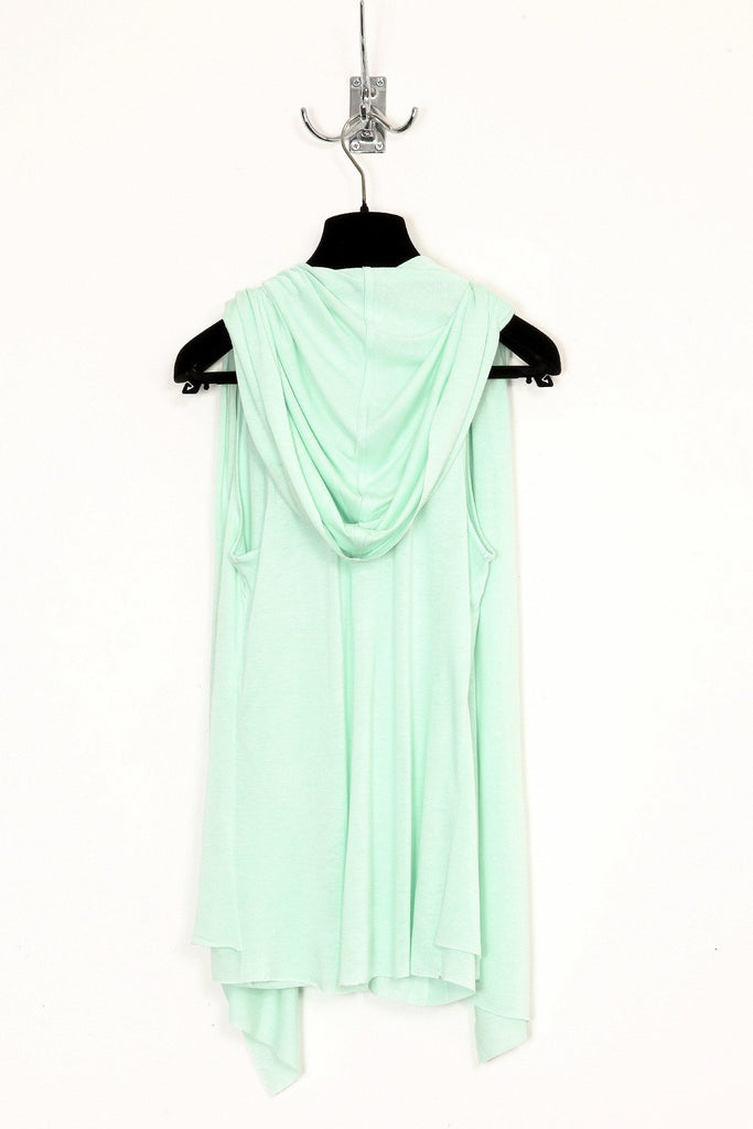 UNCONDITIONAL Mint green rayon hooded waistcoat cape vest.