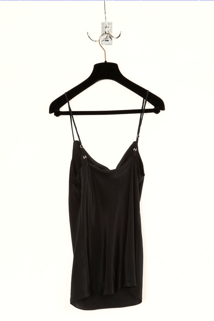 UNCONDITIONAL Black signature drape front camisole in pure silk crepe.
