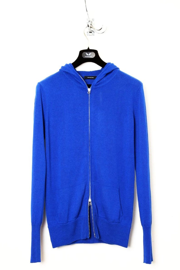 UNCONDITIONAL azure cotton linen full zip hoodie