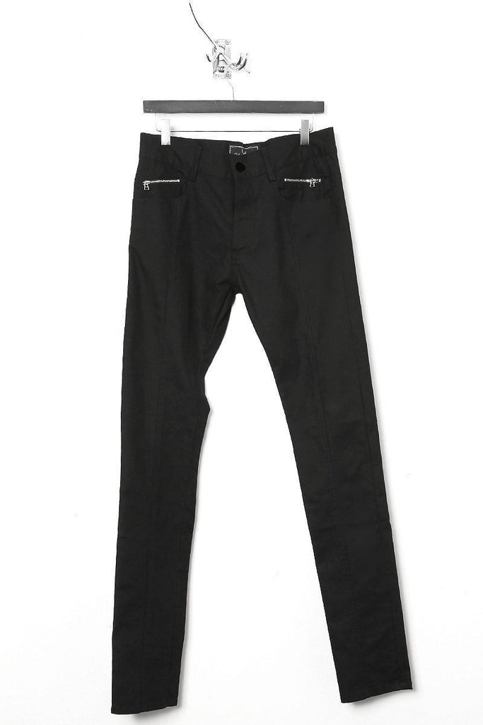 UNCONDITIONAL AW18 Black stretch drill skinny stretch denim jeans with centre seam detailing