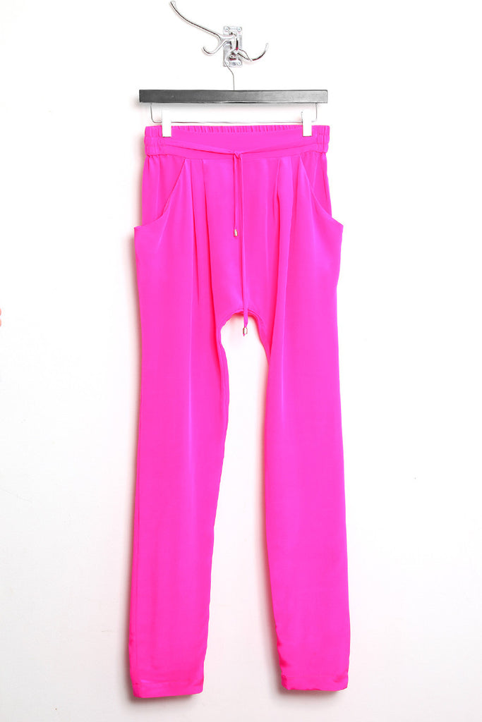 UNCONDITIONAL hot pink heavy silk crepe trousers