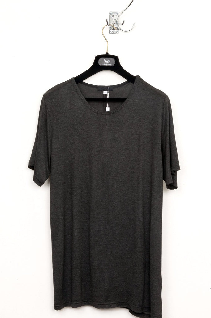 UNCONDITIONAL charcoal long loose knit crew neck tee.