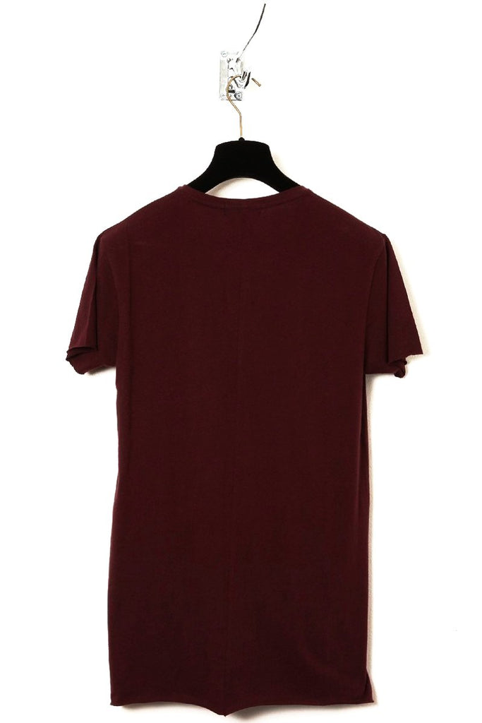 UNCONDITIONAL burgundy V-neck Tee with centre back seam and raw cut hem