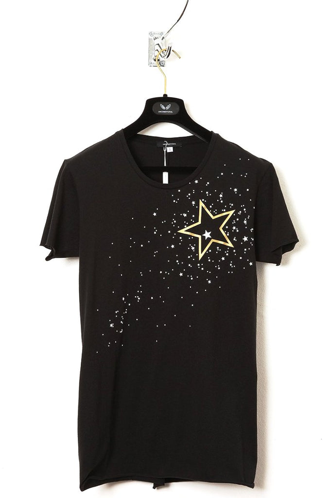 UNCONDITIONAL Black T with with 2 tone stars print