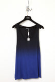 UNCONDITIONAL azure blue and black dip dye rayon vest.