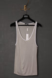 UNCONDITIONAL Stone rayon jersey vest with white contrast binding