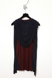 UNCONDITIONAL Dark burgundy and navy hooded cape vest.