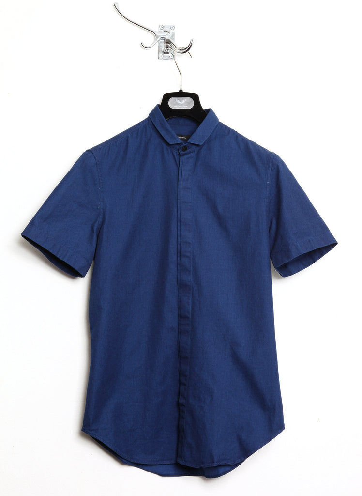 UNCONDITIONAL indigo Italian chambray denim short sleeved shirt down with baby collar