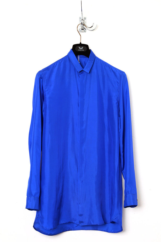 UNCONDITIONAL SS19 Electric blue washed silk habotai shirt