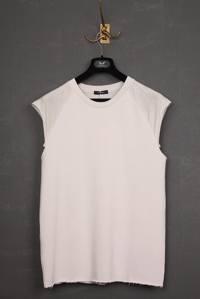 UNCONDITIONAL Dirty white sweat and jersey sleeveless raglan tee