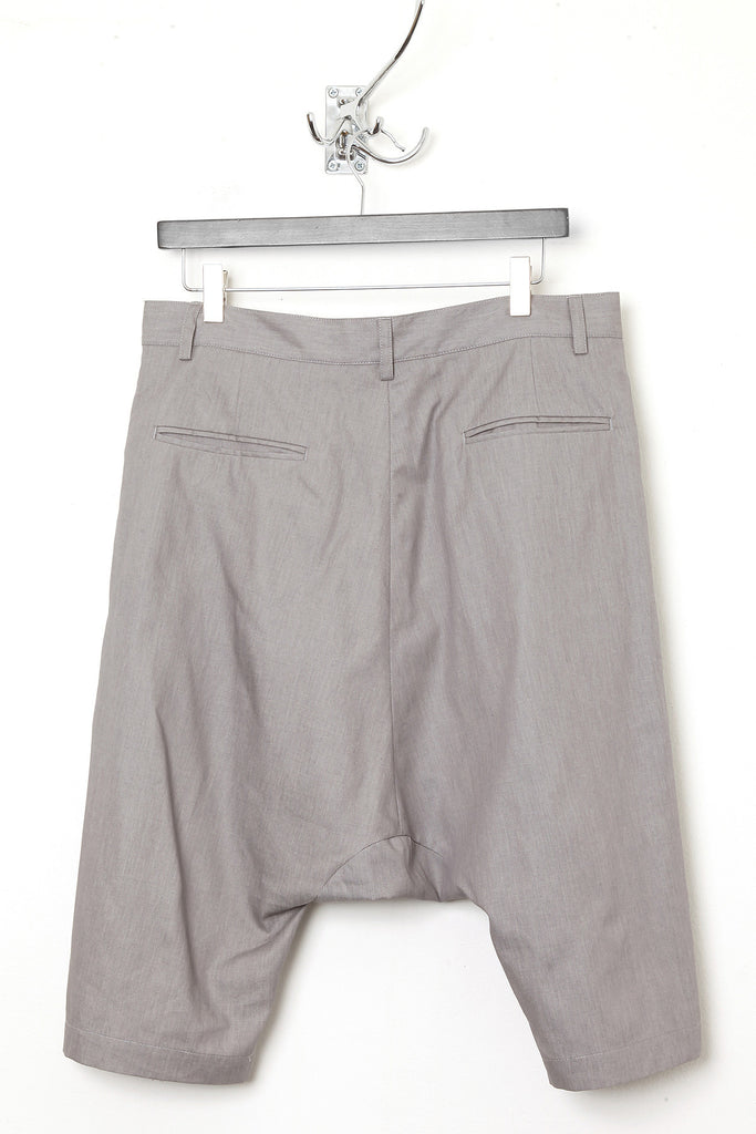 UNCONDITIONAL light grey chambray drop crotch shorts.