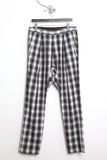 UNCONDITIONAL grey black white checked drop crotch trousers.