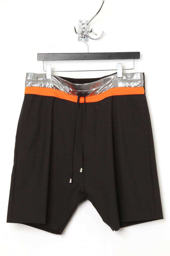 "UNCONDITIONAL Black tailored wool ""boxer"" shorts, with silver/orange contrast waistband"