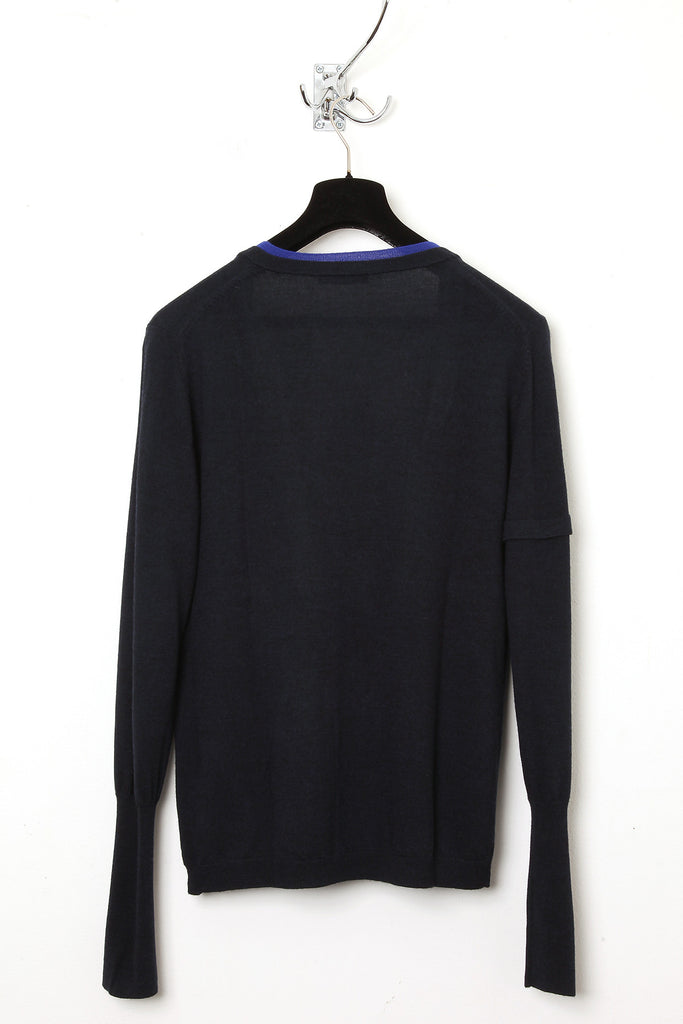 UNCONDITIONAL AW17 Midnight and Blue super deep V-neck merino wool jumper.