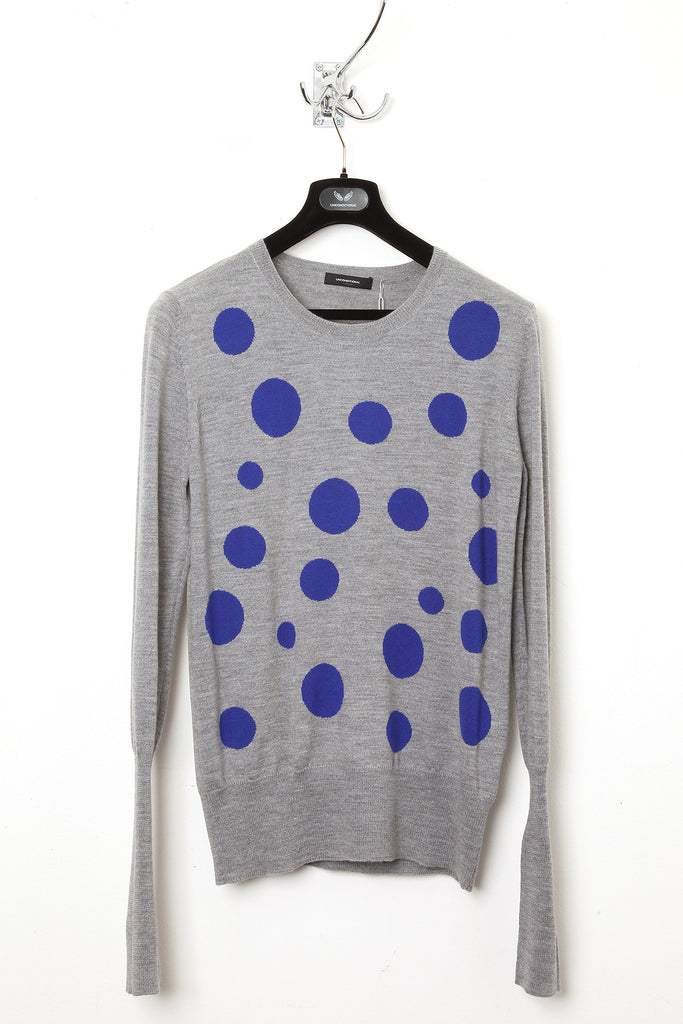 UNCONDITIONAL Flannel crew neck merino sweater with electric blue polka dots