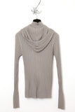 UNCONDITIONAL Flannel Grey rib hooded plunge front sweater
