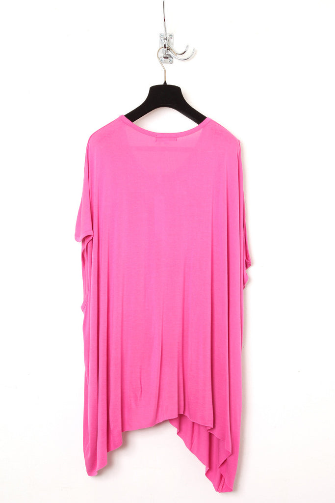 UNCONDITIONAL pink asymmetric shoulder double dip tee.