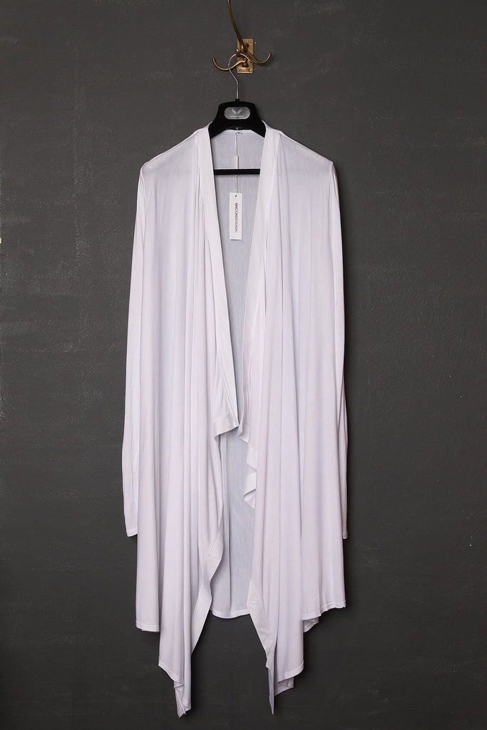 UNCONDITIONAL SS18 white rayon long drape border cardigan.