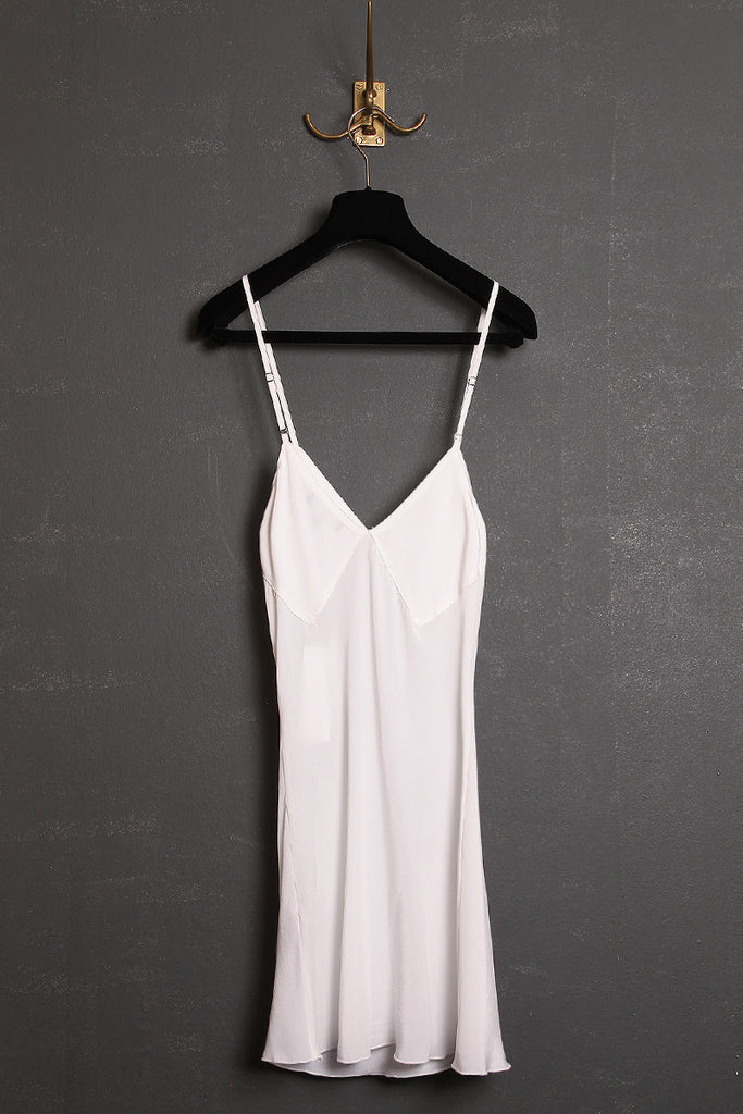 UNCONDITIONAL Off White pure silk crepe camisole with adjustable straps.