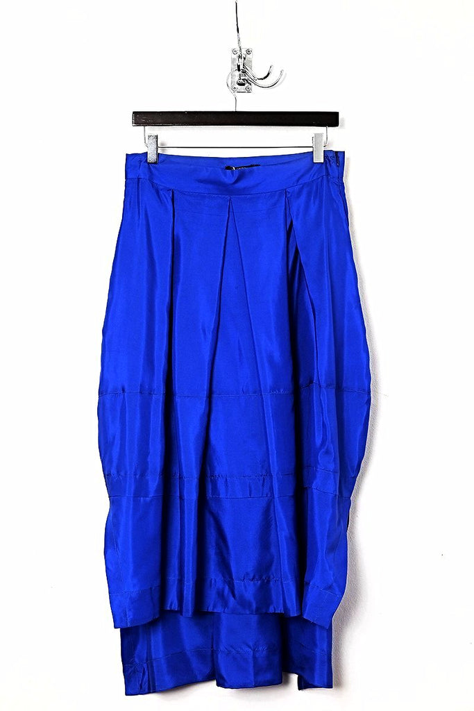 UNCONDITIONAL Electric blue silk long tail back panelled skirt.