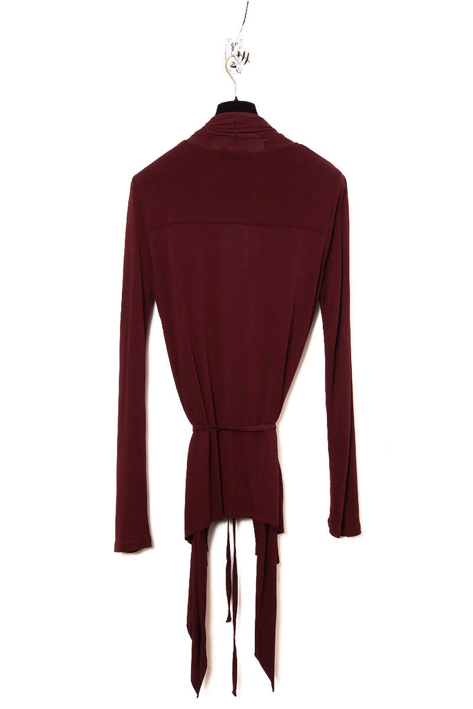 UNCONDITIONAL PRE AW17 Burgundy rayon long sleeved drape front cardigan.