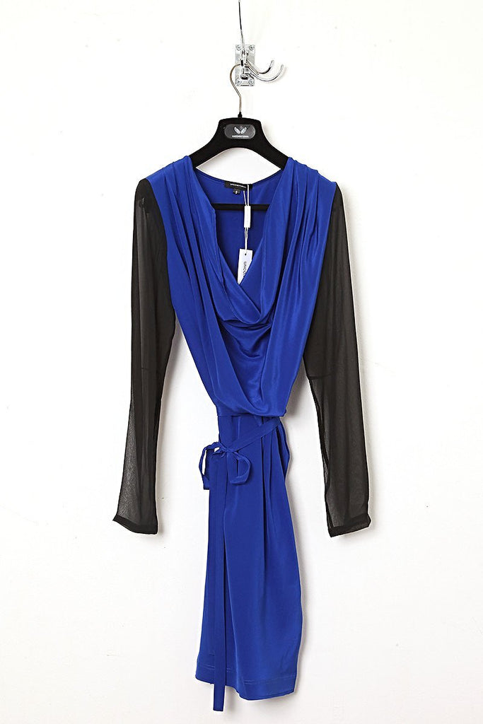 UNCONDITIONAL SS18 Electric Blue / Black cowl neck silk sheer sleeved dress