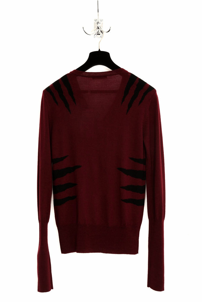 UNCONDITIONAL Burgundy V-neck sweater with black tiger scratches