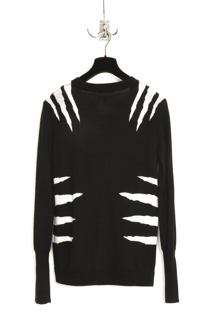 UNCONDITIONAL Black and white Tiger intarsia V-neck cardigan