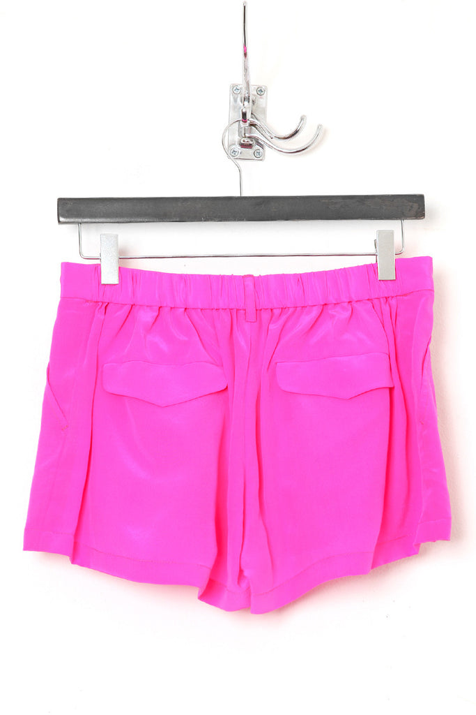 UNCONDITIONAL SS18 Hot Pink silk crepe mini skorts shorts